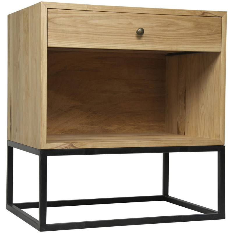 noir garland side table elm w metal. Black Bedroom Furniture Sets. Home Design Ideas