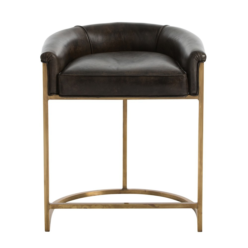 Arteriors Calvin Counter Stool Antique Brass And Brindle