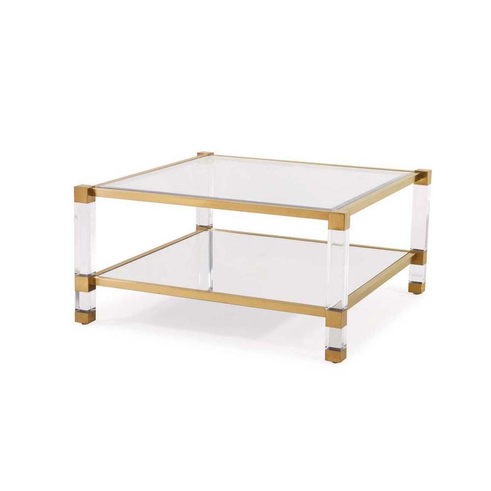 Blink home santa monica square cocktail table antique gold for Square cocktail table