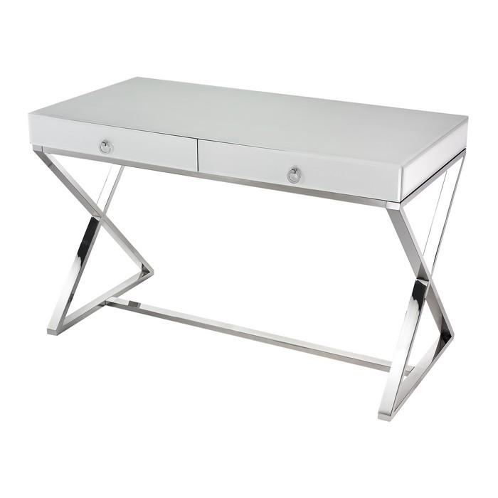 Lazy Susan White Glass Desk