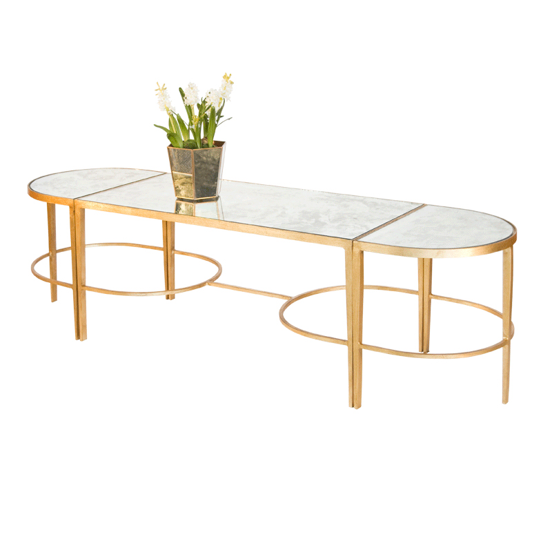 Antique Gold Mirrored Coffee Table: Worlds Away 3 Piece Gold Leaf Sabre Leg Coffee Table With
