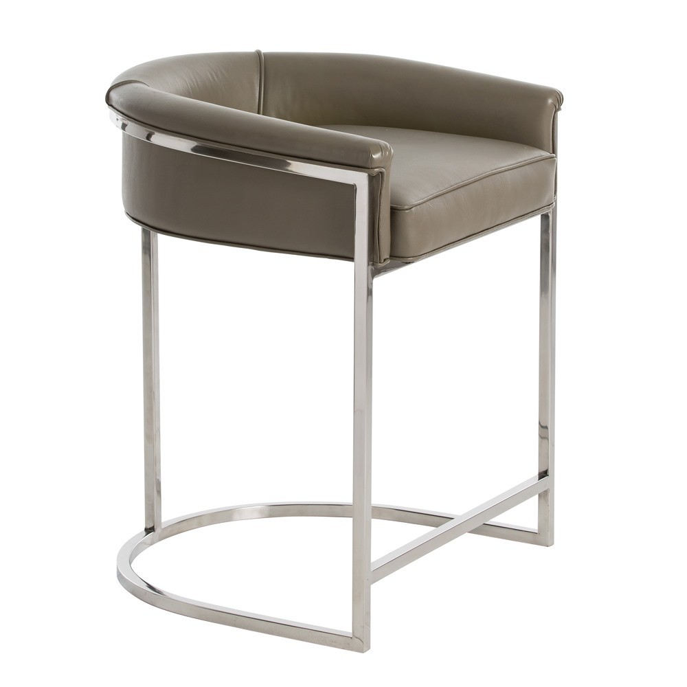Arteriors Calvin Counter Stool Polished Nickel And Gray