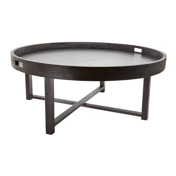 Lazy Susan Round Black Teak Coffee Table Tray