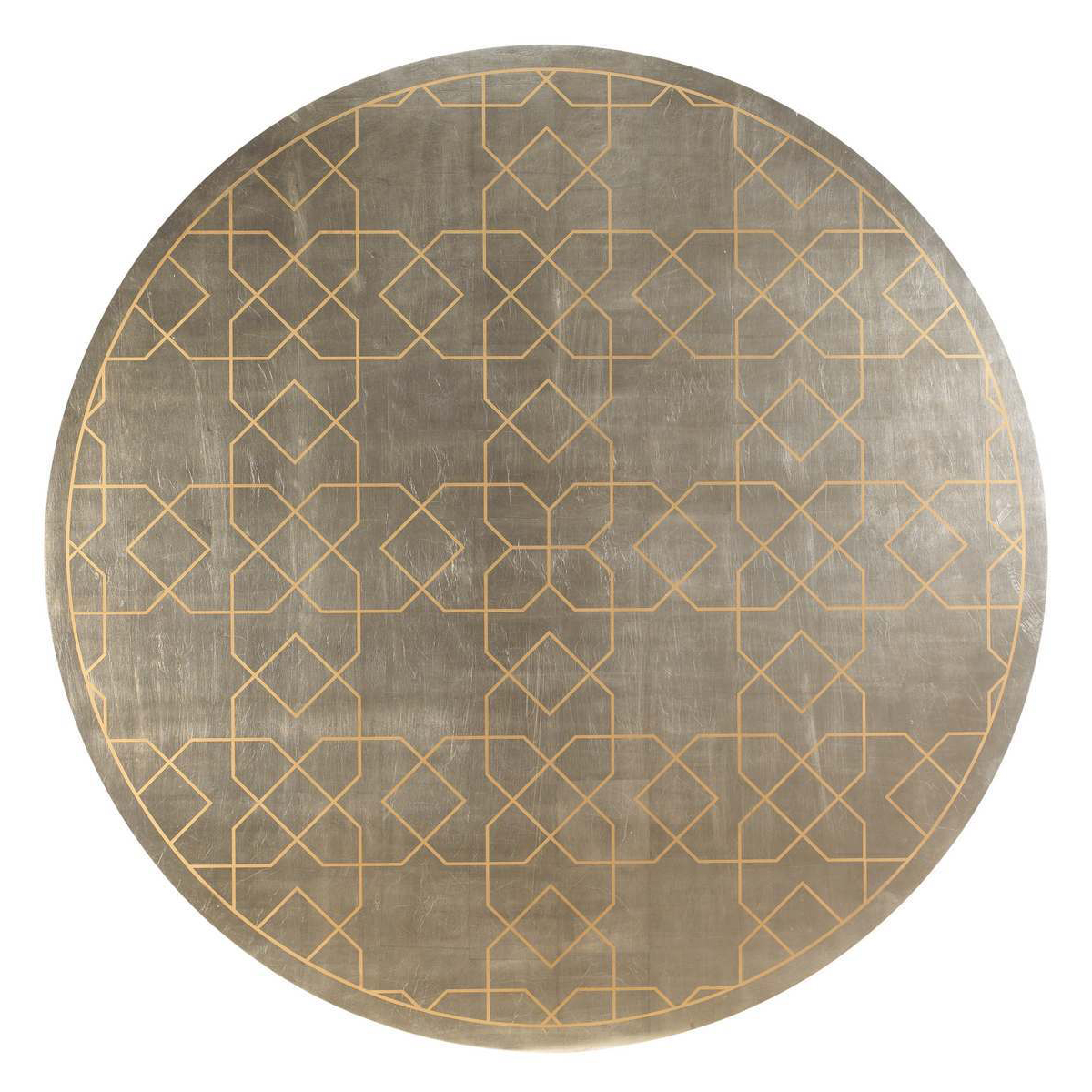 Caracole center of attention silver leaf round dining for Black round table with leaf