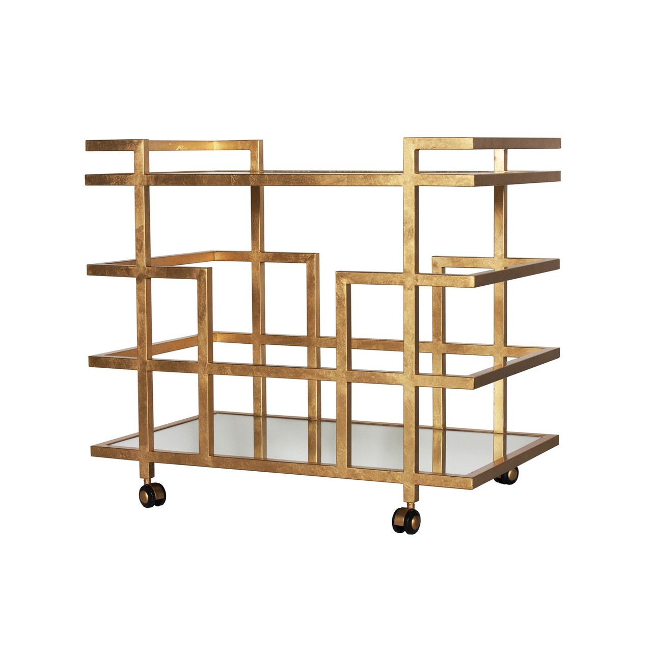 worlds away ireland gold leaf linear bar cart with mirror. Black Bedroom Furniture Sets. Home Design Ideas