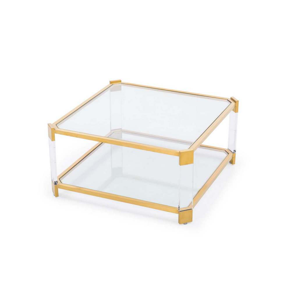 Blink home carson square cocktail table antique gold for Square cocktail table