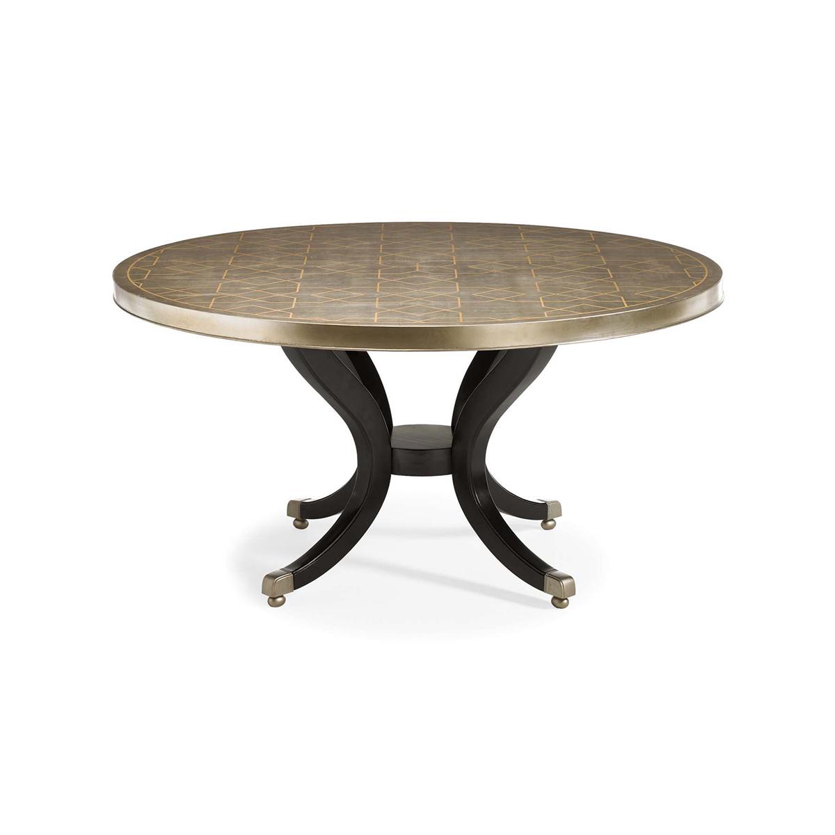 Caracole Silver Leaf Round Dining Table With Black Pedestal Base