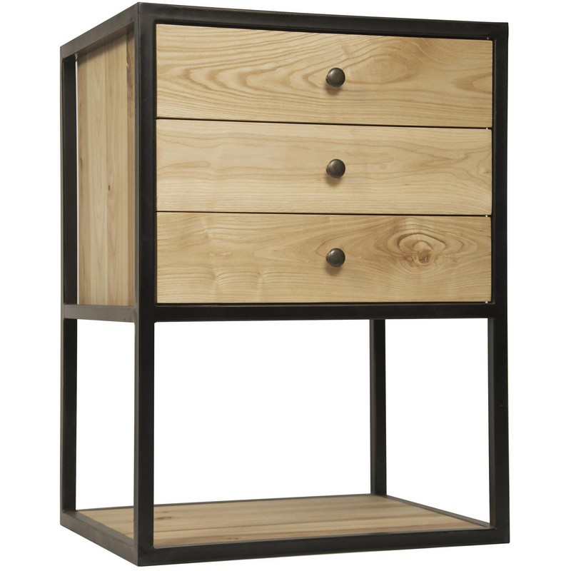 noir pearce side table elm w metal. Black Bedroom Furniture Sets. Home Design Ideas