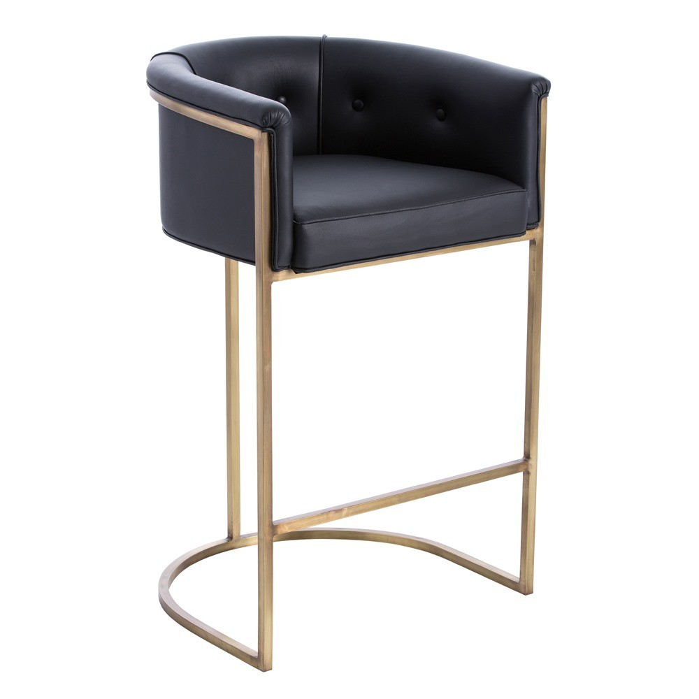 Arteriors Calvin Bar Stool Antique Brass and Black Leather : AR 2670d3ni from www.interiorhomescapes.com size 1000 x 1000 jpeg 62kB