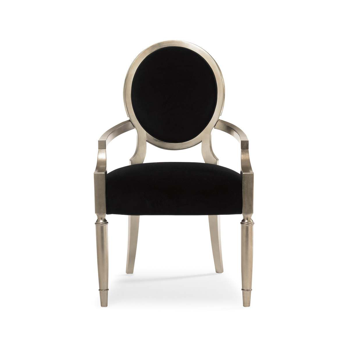 Caracole Chit Chat Black Velvet And Silver Leaf Dining
