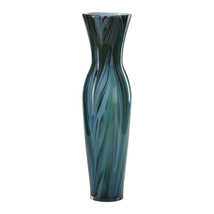 Cyan design tall peacock feather vase