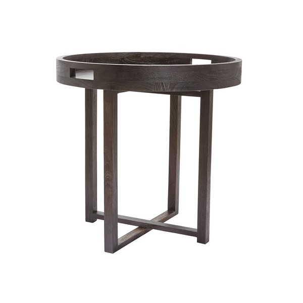 lazy susan large round black teak side table tray