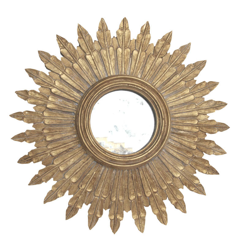 Worlds away santo small gold leaf starburst mirror with for Small gold mirror