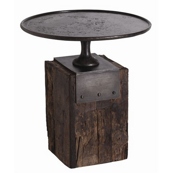 Arteriors anvil cast iron and reclaimed wood side table for Iron and wood side table