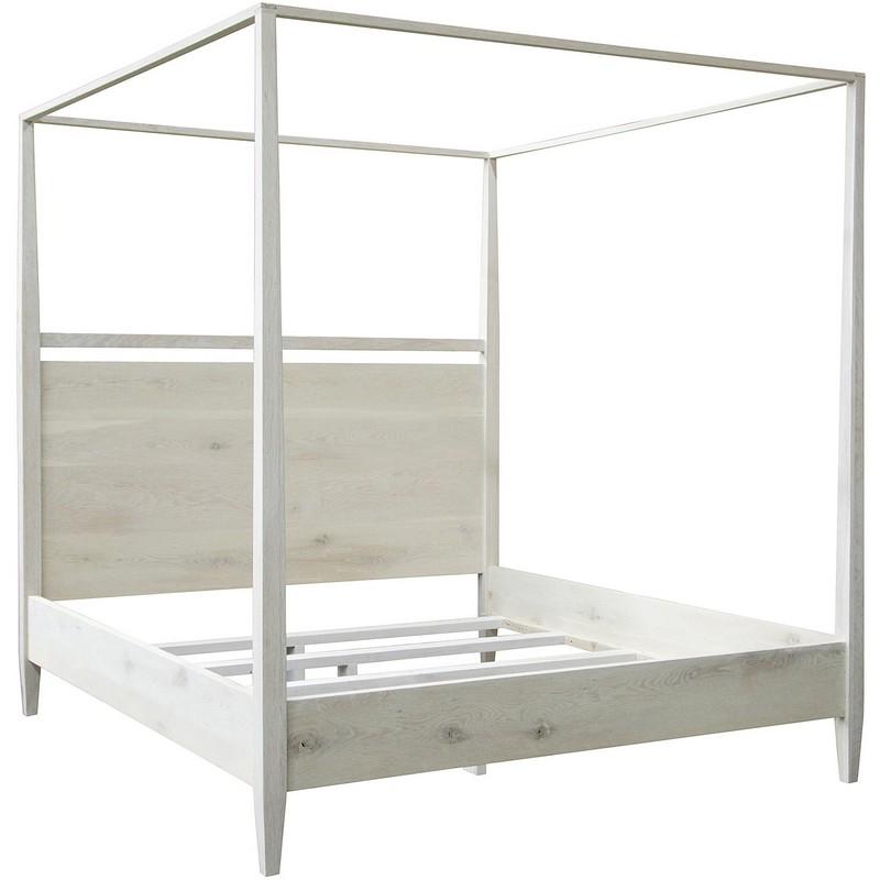 CFC Washed Oak Modern 4-Poster Bed - Cal King
