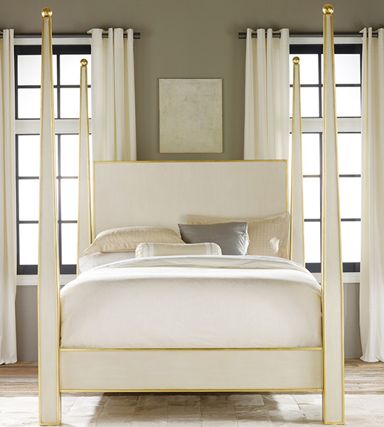 Modern History Abstract Bed With Gold Leaf Trim Queen